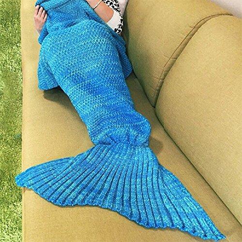 Meerjungfrau Decke Wolle gestrickt Fischschwanz der Couch Klimaanlage Geburtstagsgeschenk (180 * 90cm) blau