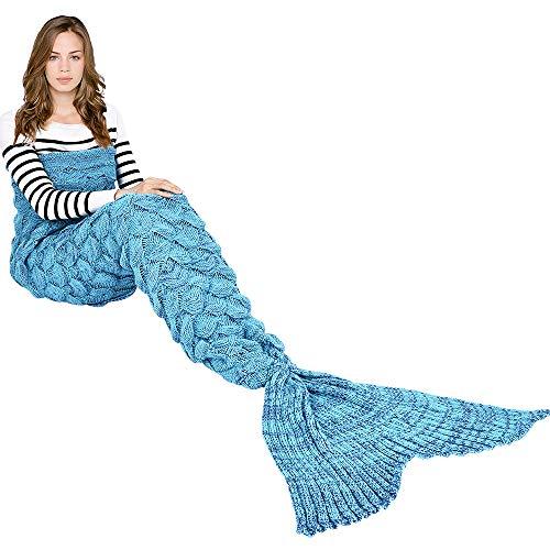 """Meerjungfrauendecke, Handgefertigt, gestrickt, für alle Jahreszeiten, warm, für Erwachsene, acryl, blau, 77.8""""x37.4"""""""