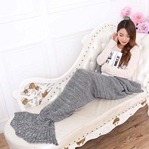 LIVEHITOP handgemachte Häkelarbeit Mermaid Schwanz Decke, weiche Wolldecken Fish Tail Schlafsack Erwachsene All Seasons, 195 x 95 cm (grau)