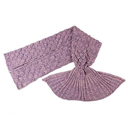 Warm und weich Meerjungfrau Schwanz Decke von aiqi, Handwerk Crochet Snuggle Cozy Fleece Sofa Bett Schlafsäcke, ideal Geschenke für Familienmitglieder oder Freunde, Pale Pinkish Purple, M