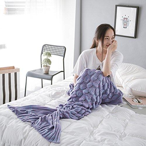 WLM Meerjungfrau-Endstück-Häkelarbeit-Decke-weiche Sofa-Nixe-Decke strickte Meerjungfrau-Schwanz-erwachsene Schlaftasche die ganze Jahreszeit. (Leicht lila)